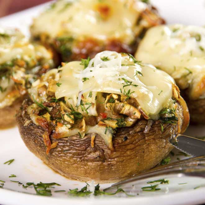 Garlic Butter Pasta Stuffed Mushrooms Recipe